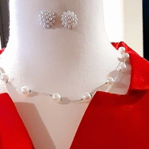 Faux Pearl & Silver Chain Necklace